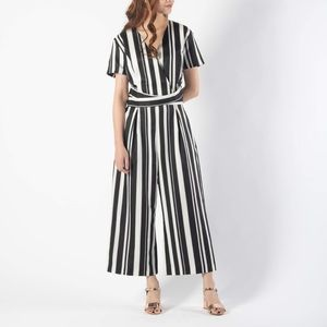 Short Sleeve Stripe Cropped Jumpsuit
